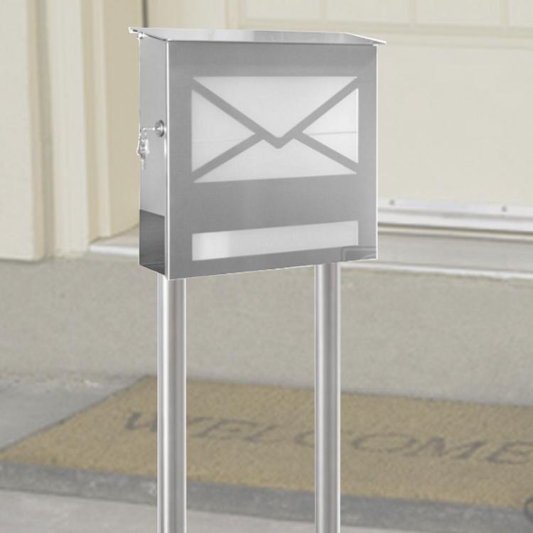 standbriefkasten mit zeitungsfach edelstahl. Black Bedroom Furniture Sets. Home Design Ideas