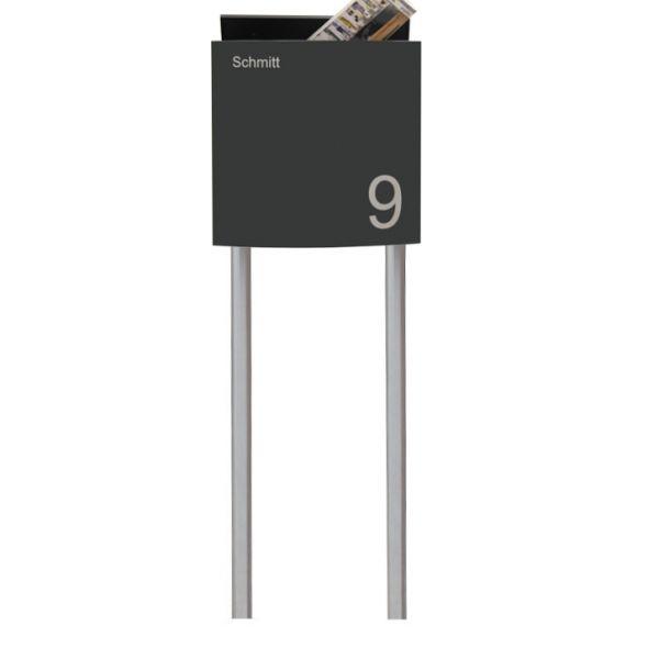 SE11 Design Standbriefkasten anthrazit mit Hausnummer