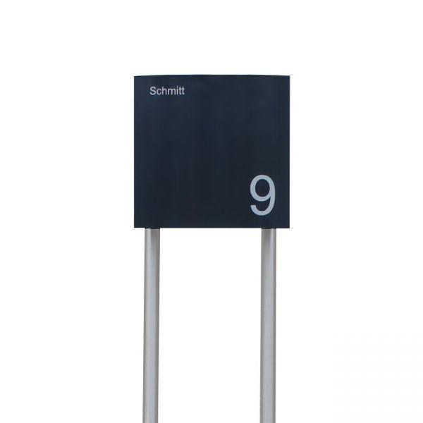 Design Standbriefkasten anthrazit mit Hausnummer