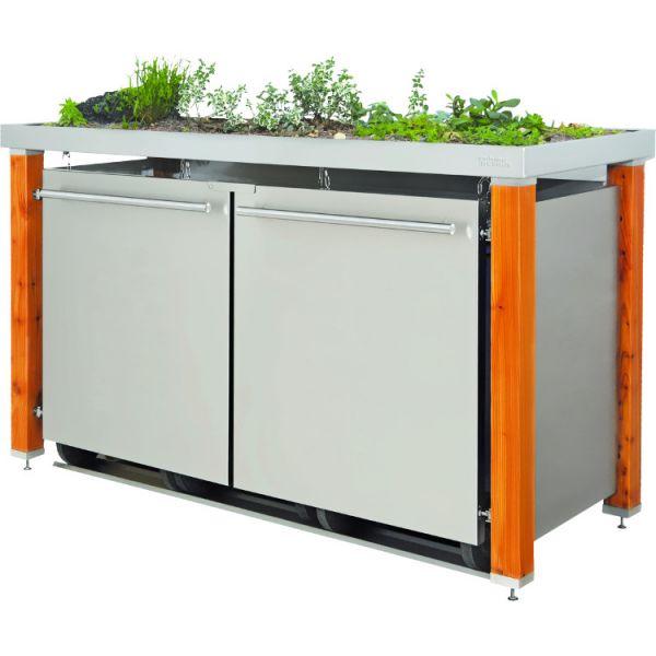 MB20 3er Mülltonnenbox Lärche/Edelstahl 120/240 Liter mit Pflanzdach