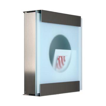 keilbach Design Briefkasten glasnost glass one-dot Edelstahl