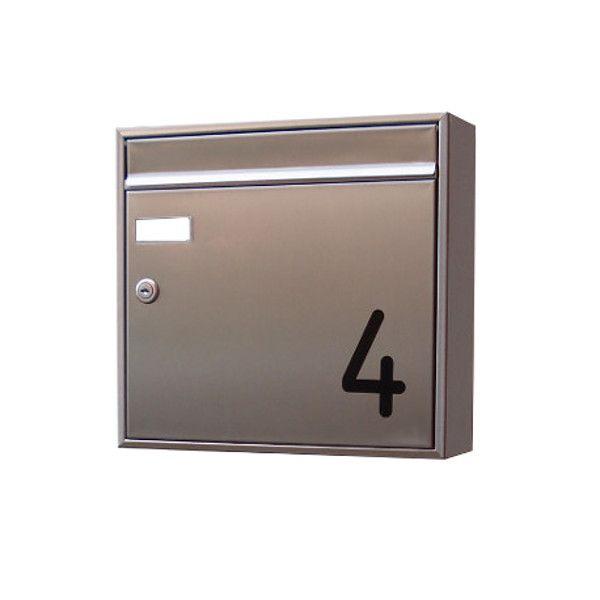 Briefkasten Edelstahl mit Hausnummer EH1