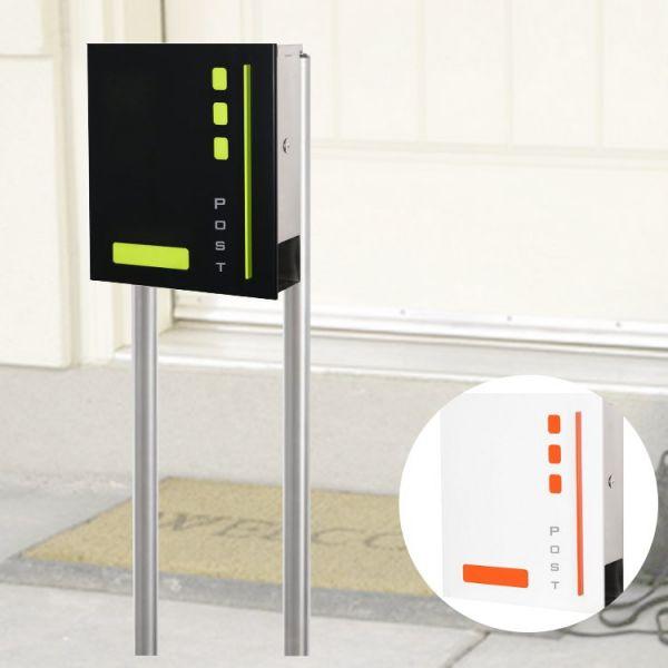 Design Standbriefkasten Port mit Zeitungsfach