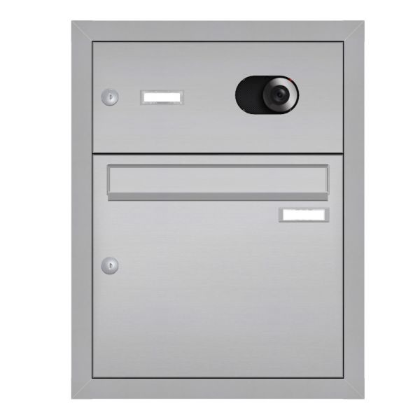 Unterputz Briefkasten mit Kamera + Klingel Edelstahl UP3V