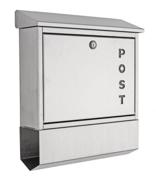 Edelstahl Briefkasten mit Zeitungsfach POST2