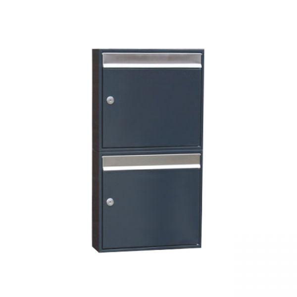 Design Doppel Briefkasten anthrazitgrau RAL7016