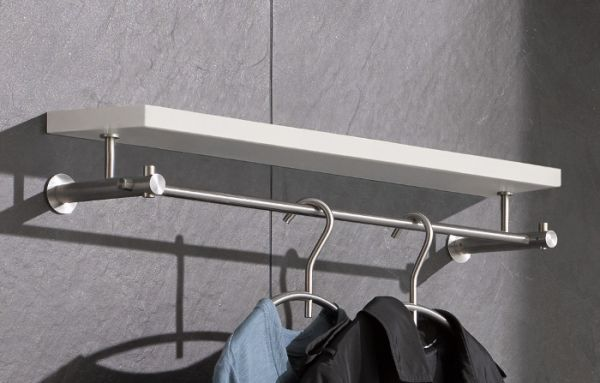 Wandgarderobe Edelstahl design wandgarderobe edelstahl mit holzablage g4h