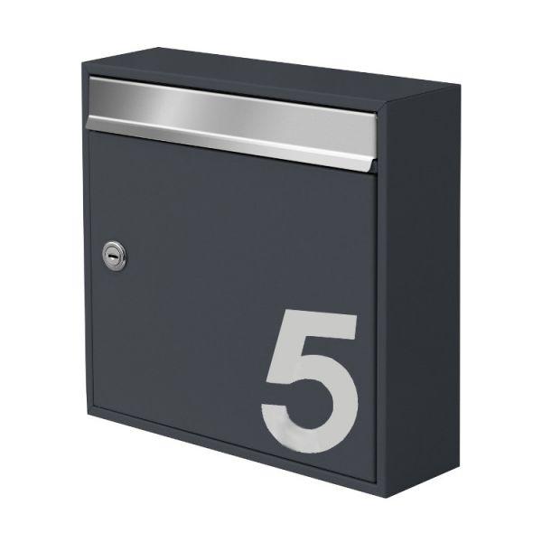 Design Briefkasten Mit Hausnummer Anthrazit Ah1 Schmitt Smartes