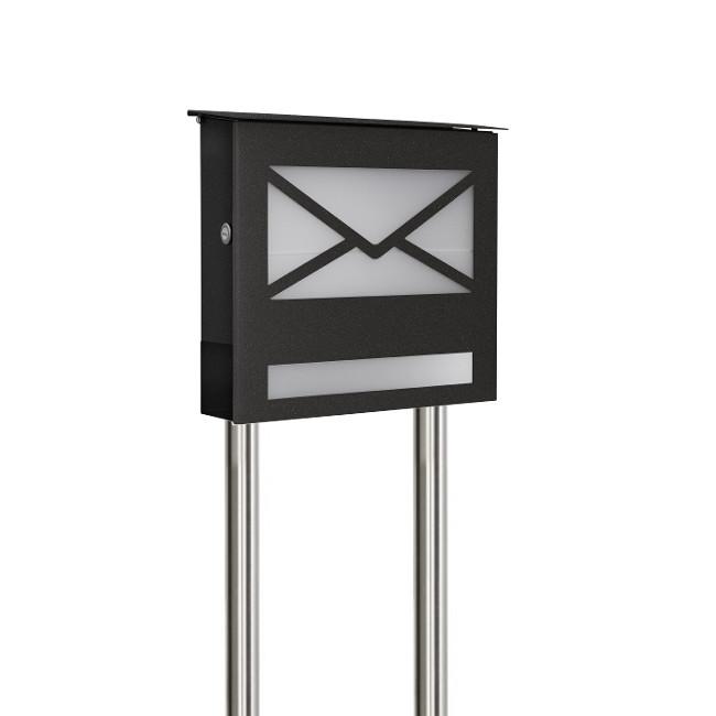 standbriefk sten aus edelstahl briefkasten freistehend mit zeitungsfach schmitt smartes wohnen. Black Bedroom Furniture Sets. Home Design Ideas