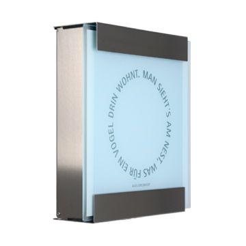 keilbach Design Briefkasten glasnost glass nest Edelstahl