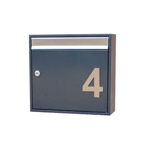 Design Briefkasten mit Hausnummer anthrazit AH1