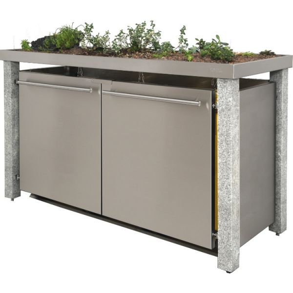 MB16 3er Edelstahl + Granit Mülltonnenbox 120/240 Liter mit Pflanzwanne