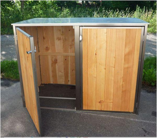 MB7 2er Mülltonnenbox Holz - Edelstahl 120 / 240 Liter