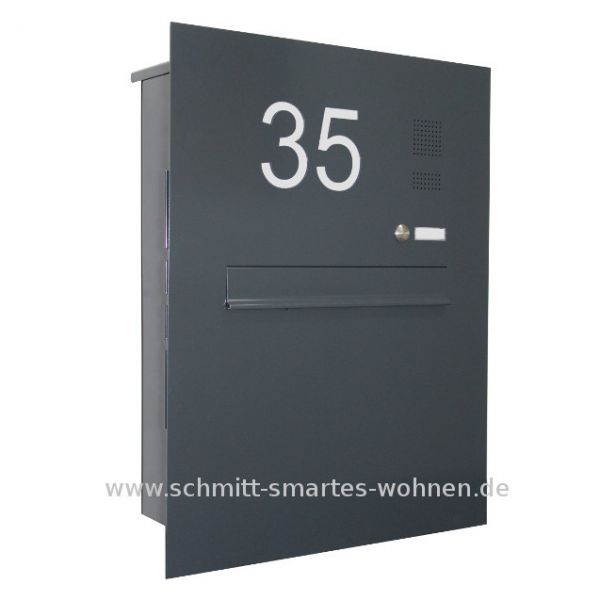 z8 zaunbriefkasten anthrazitgrau moosgr n mit klingel hausnummer beleuchtet schmitt. Black Bedroom Furniture Sets. Home Design Ideas