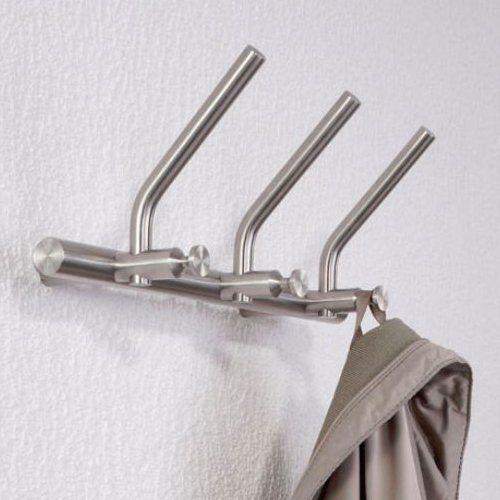 PHOS Garderobenleiste Edelstahl HL SH mit 3 Huthaken