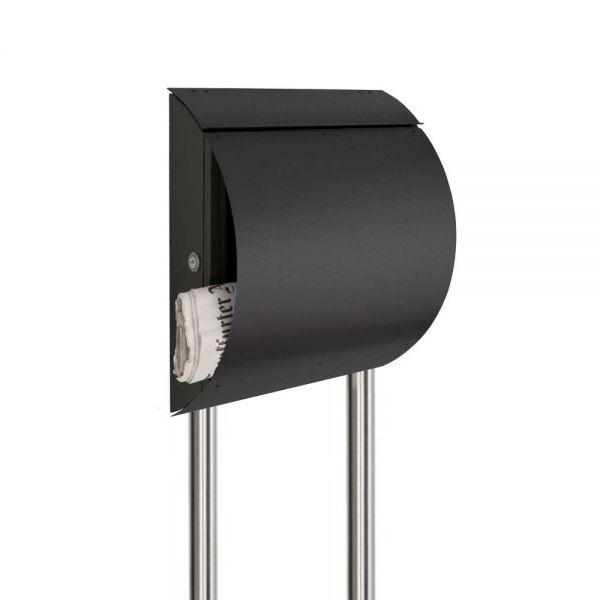 Briefkasten freistehend mit Zeitungsfach grau SE14