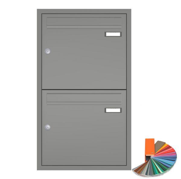2er Unterputz Briefkasten übereinander grau up10a