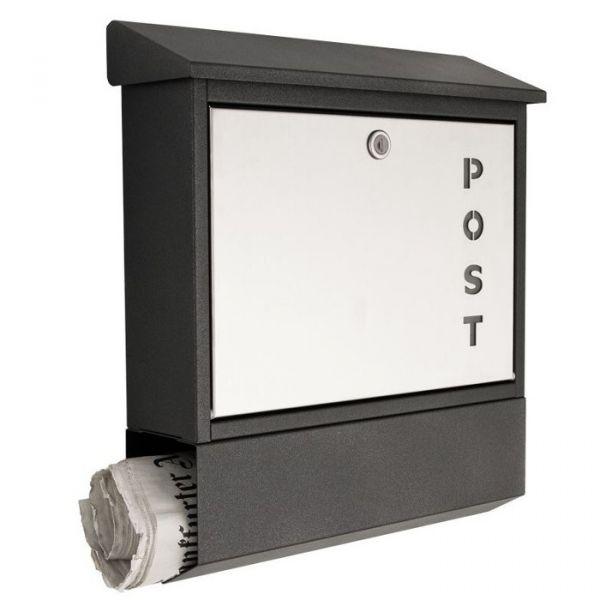 Design Briefkasten mit Zeitungsfach Post