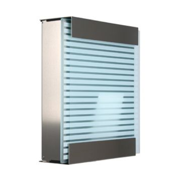 keilbach Design Briefkasten glasnost glass white stripes Edelstahl
