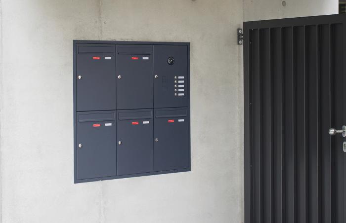 5er Unterputz Briefkastenanlage mit Klingel + Kamera