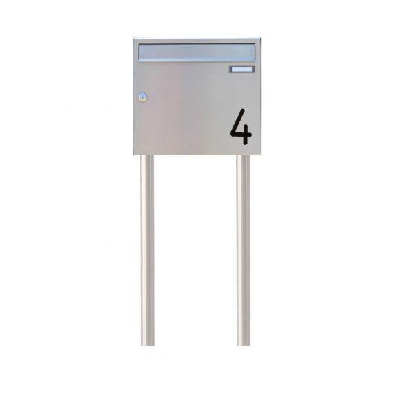 Standbriefkasten Edelstahl mit Hausnummer SEH1