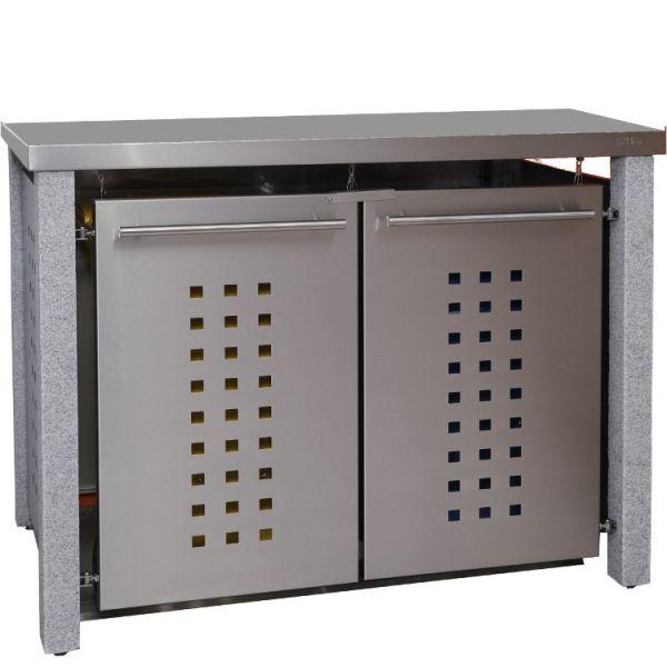 MB13 Mülltonnenbox Granit-Edelstahl 120/240 Liter