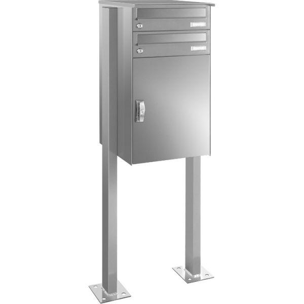 P7 Stand Paketbriefkasten mit 2 Briefkästen Edelstahl