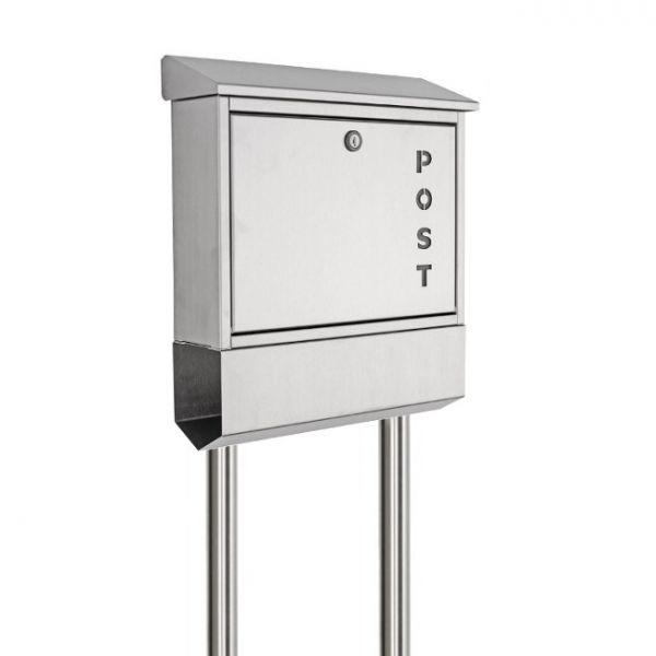 edelstahl briefkasten freistehend mit zeitungsfach post2 schmitt smartes wohnen. Black Bedroom Furniture Sets. Home Design Ideas