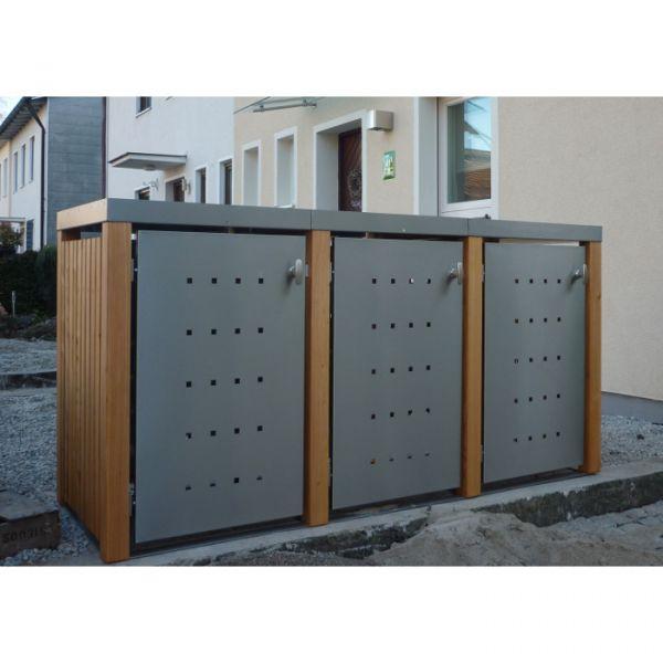 MB6 3er Mülltonnenbox Holz - Edelstahl 120 / 240 Liter