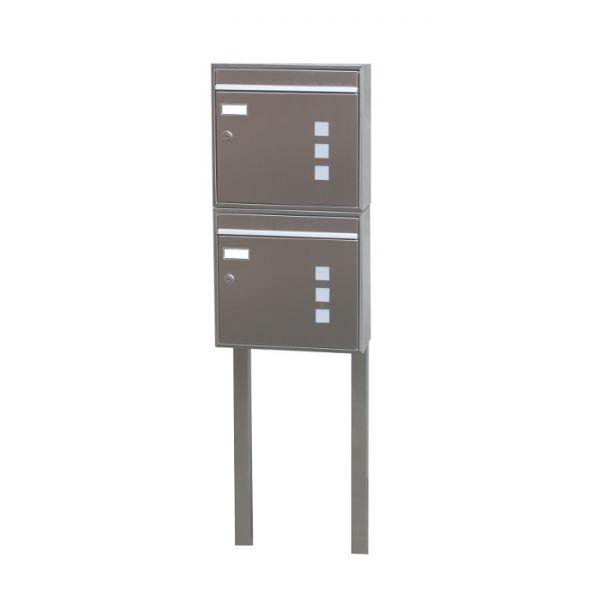 Design Doppel Briefkasten freistehend Edelstahl DSE1