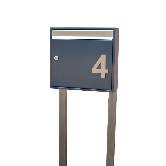 briefkasten freistehend mit hausnummer anthrazit se5h. Black Bedroom Furniture Sets. Home Design Ideas