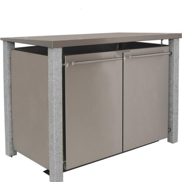 MB15 2er Mülltonnenbox Granit-Edelstahl 120/240 Liter mir Flachdach
