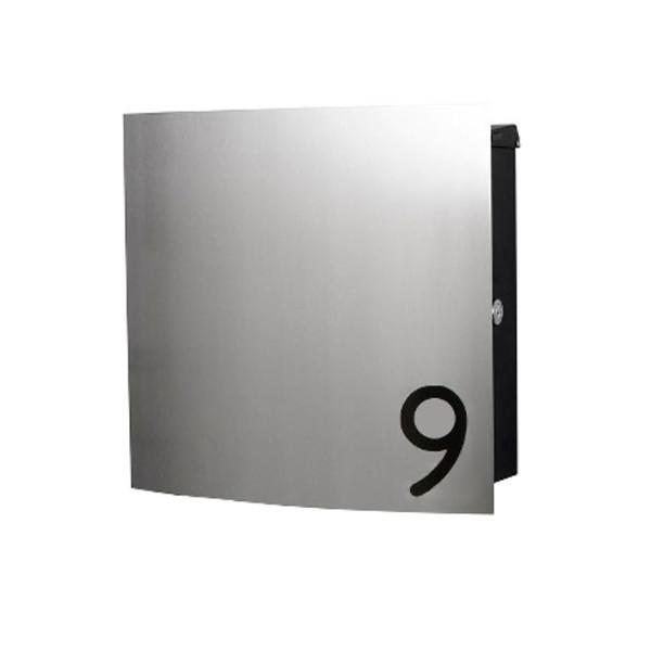 design edelstahl briefkasten mit hausnummer schmitt smartes wohnen. Black Bedroom Furniture Sets. Home Design Ideas