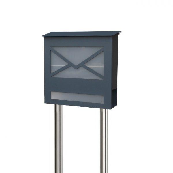 Standbriefkasten Anthrazit standbriefkasten mit zeitungsfach anthrazit letter3