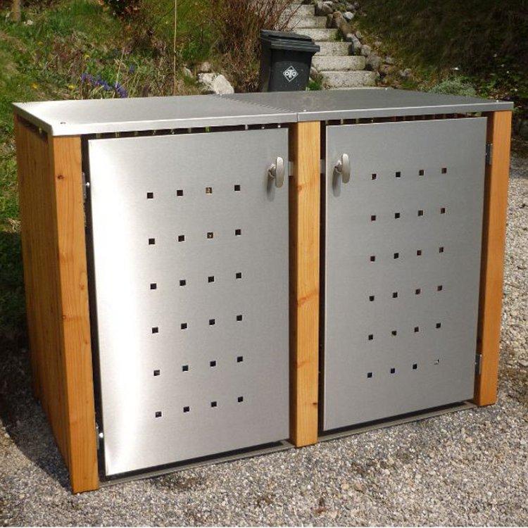 mb5 2er m lltonnenbox holz edelstahl 120 240 liter schmitt smartes wohnen. Black Bedroom Furniture Sets. Home Design Ideas
