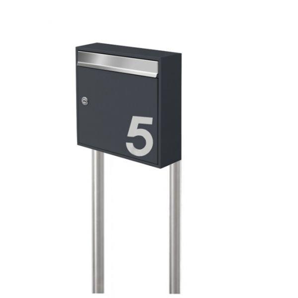 Briefkasten freistehend mit Hausnummer anthrazit SE5H