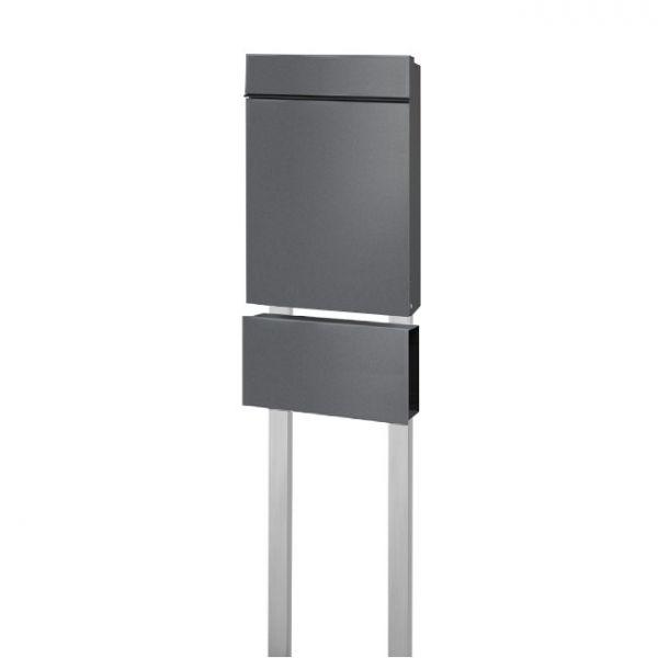 Design Standbrierfkasten grau SF2 DB703 mit Zeitungsfach
