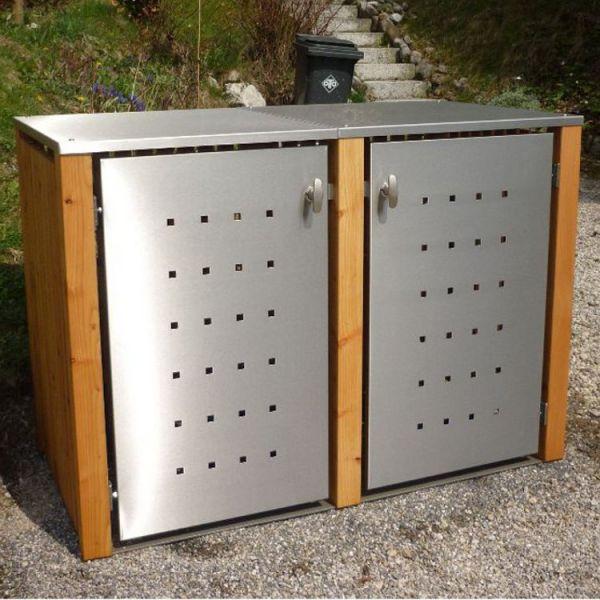 MB5 2er Mülltonnenbox Holz - Edelstahl 120 / 240 Liter