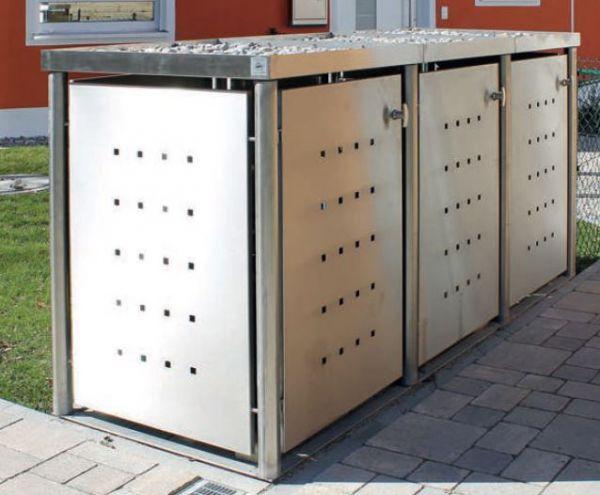 MB4 3er Mülltonnenbox Edelstahl 120 / 240 Liter