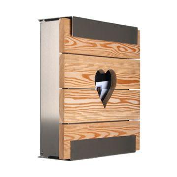 keilbach Design Briefkasten glasnost wood heart Edelstahl