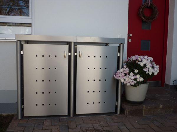 MB3 2er Mülltonnenbox Edelstahl mit Rundpfosten